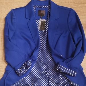 The Limited Blue Blazer with Polka Dot Lining
